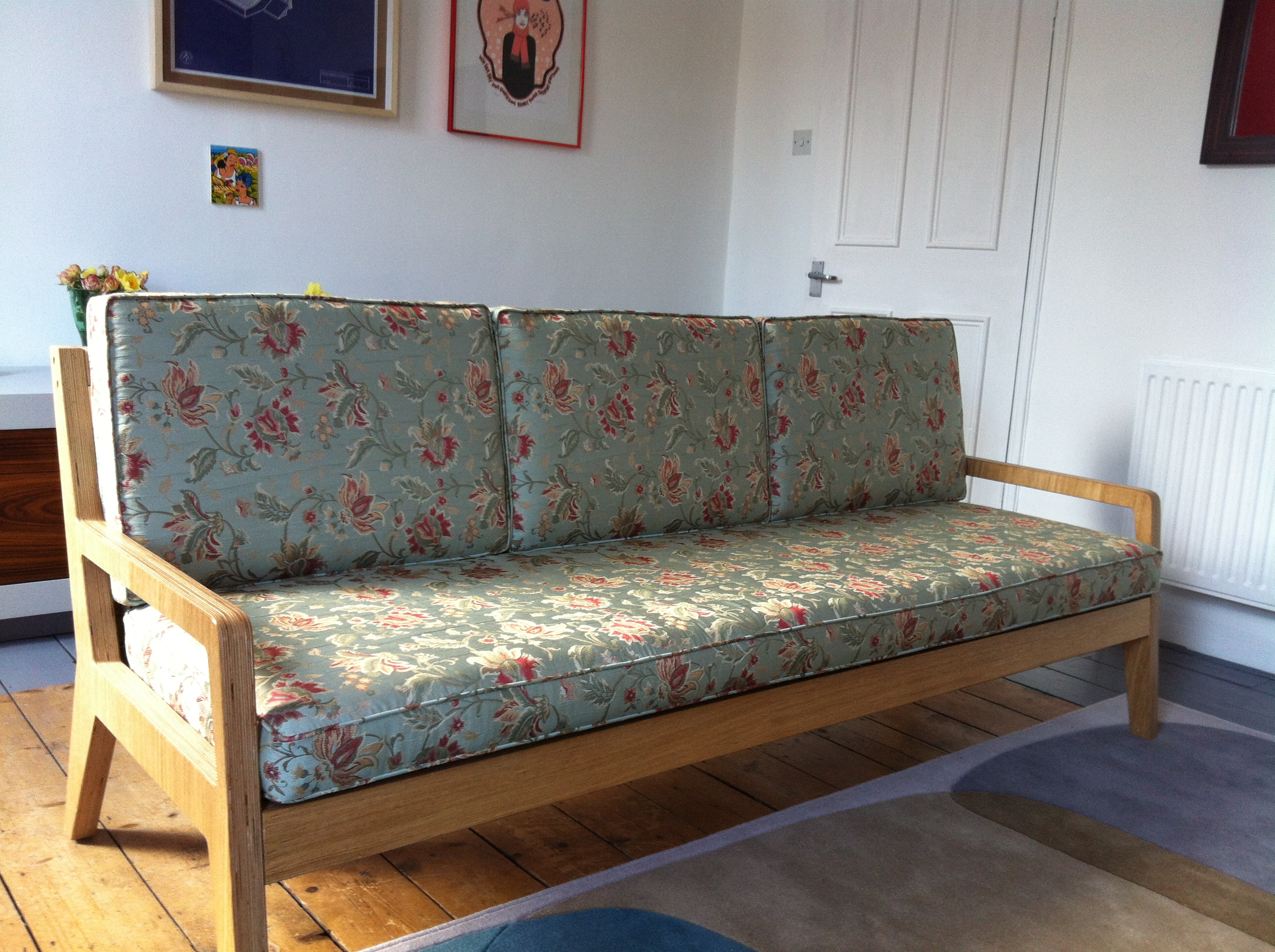 Flat Pack Sofa For Flats With Limited Access Made Of Oak Veneered Ply And Black